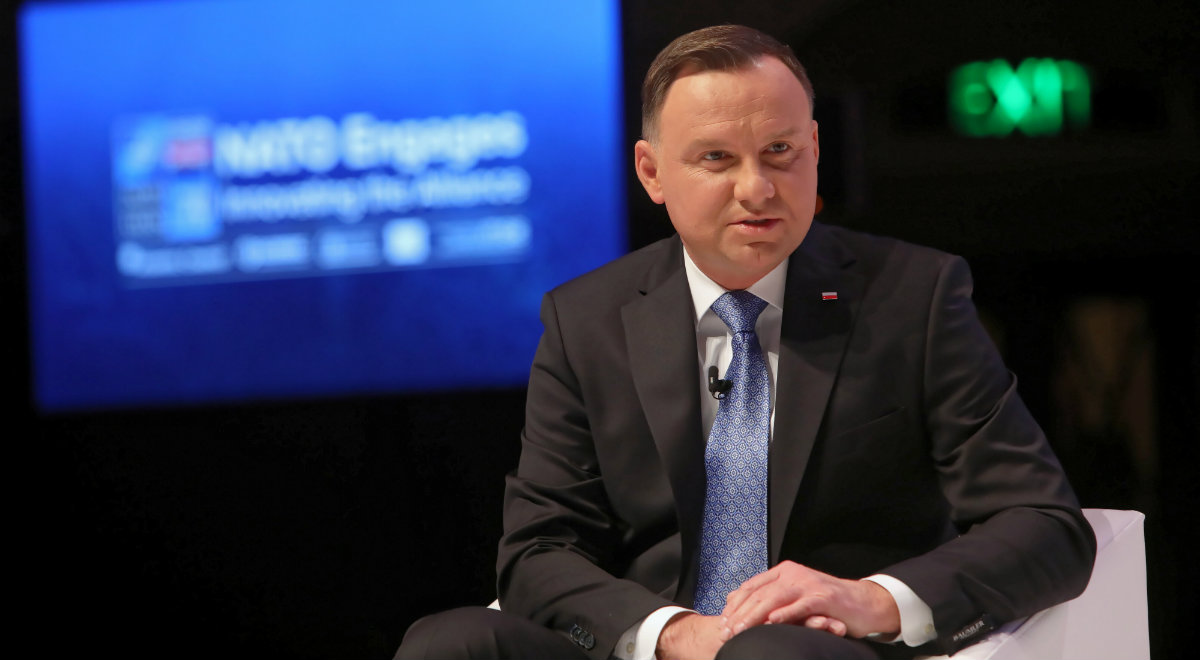Prezydent Polski Andrzej Duda podczas sesji NATO engages: Defence and Deterence for a New Era