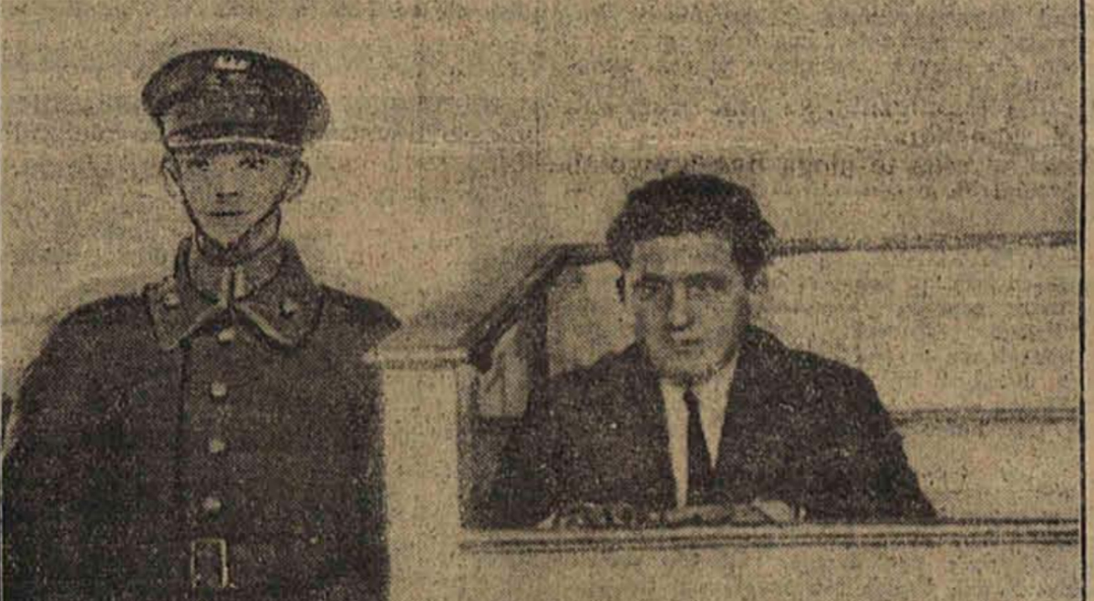Menachem Bornsztajn Ślepy Maks na ławie oskarżonych za morderstwo Srula Balbermana - fotografia zamieszczona w Ilustrowanej Republice z 16 stycznia 1930 roku.