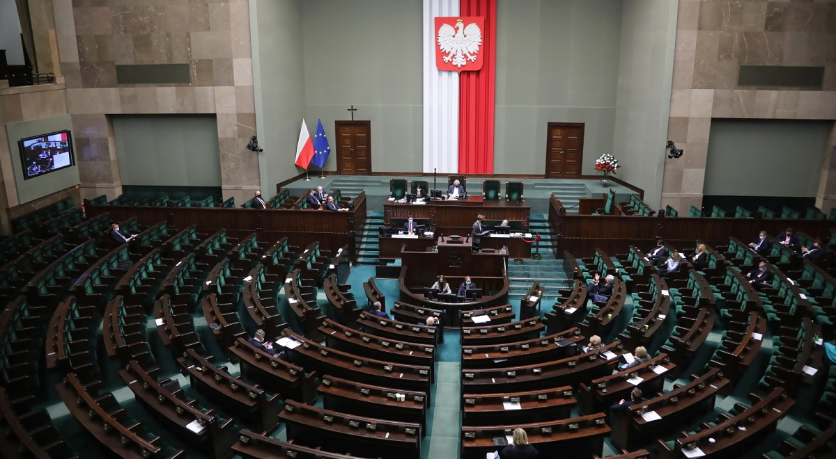 The lower house of Polands parliament, the Sejm, in session in Warsaw on Wednesday, Jan. 20, 2021.