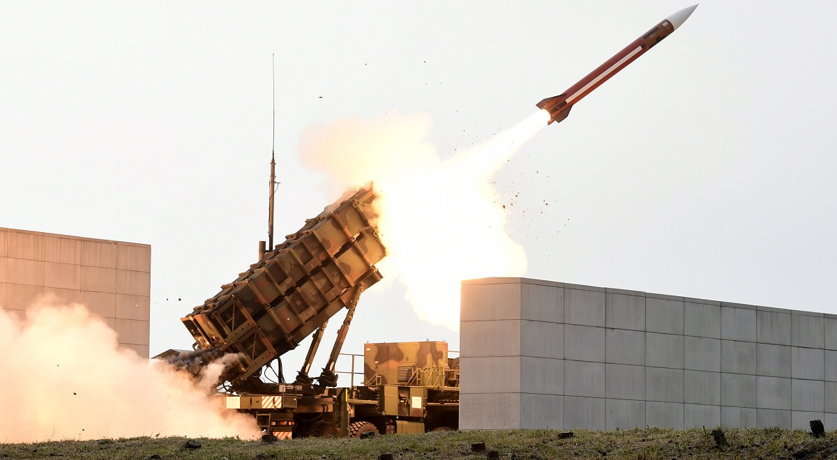 A US Patriot missile is fired at a shooting range in South Korea.