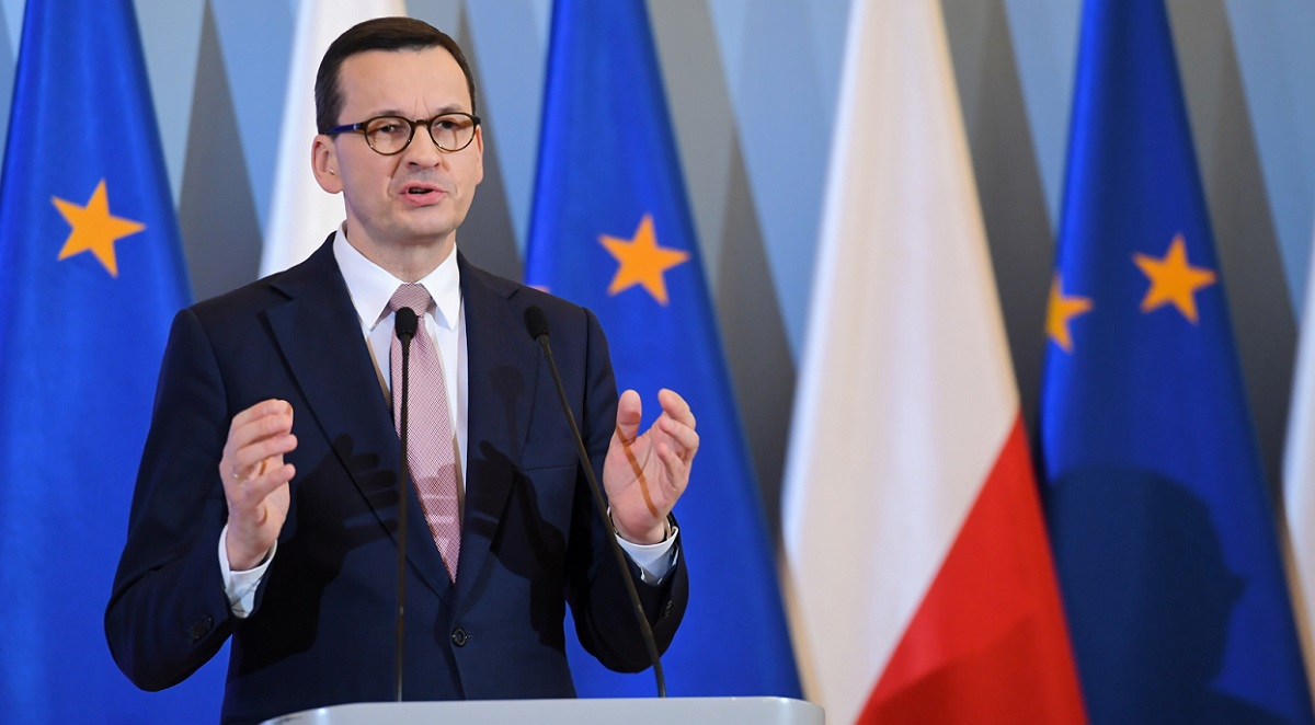 Polish Prime Minister Mateusz Morawiecki during a news conference in Warsaw on Friday evening.