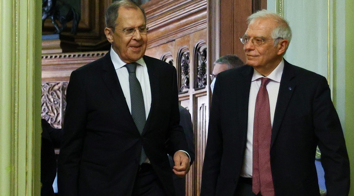 Russias Sergei Lavrov the EUs Josep Borrell during a joint news conference on Friday following talks in Moscow.