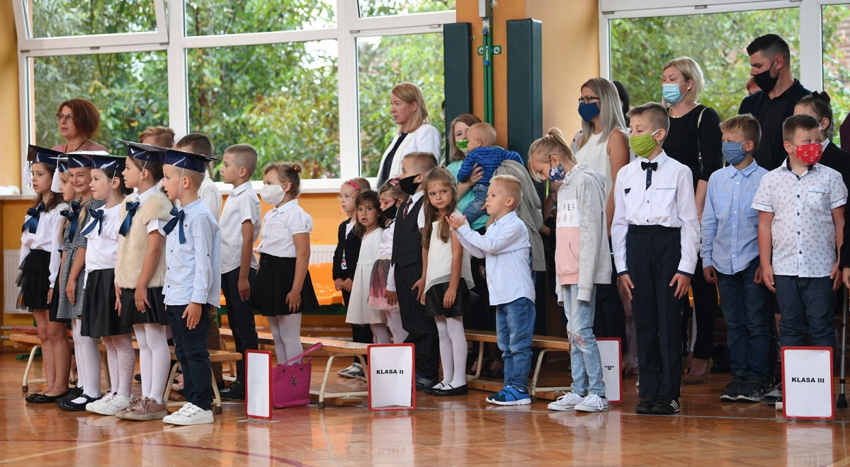 Back to school: Classes resume on Tuesday at an elementary school in Orzechowce, southeastern Poland.