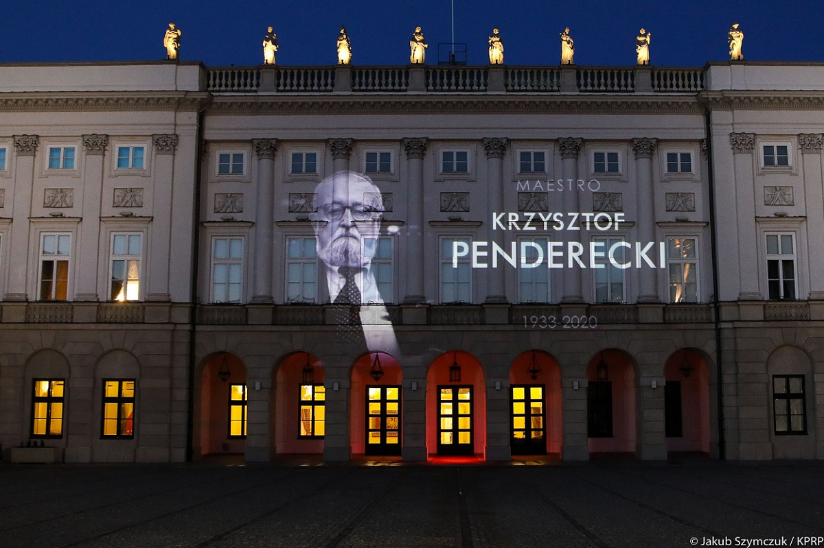 An image of Krzysztof Penderecki projected on the facade of the presidential palace in Warsaw.
