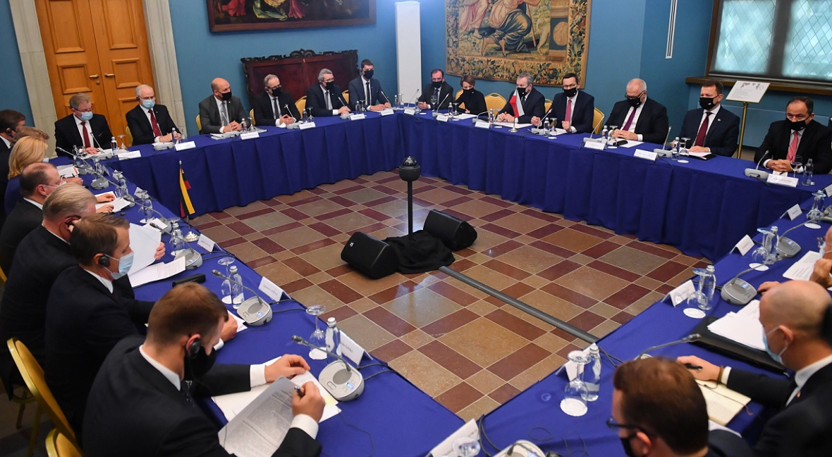 Government ministers from Poland and Lithuania hold talks in Vilnius on Thursday, Sept. 17, 2020.