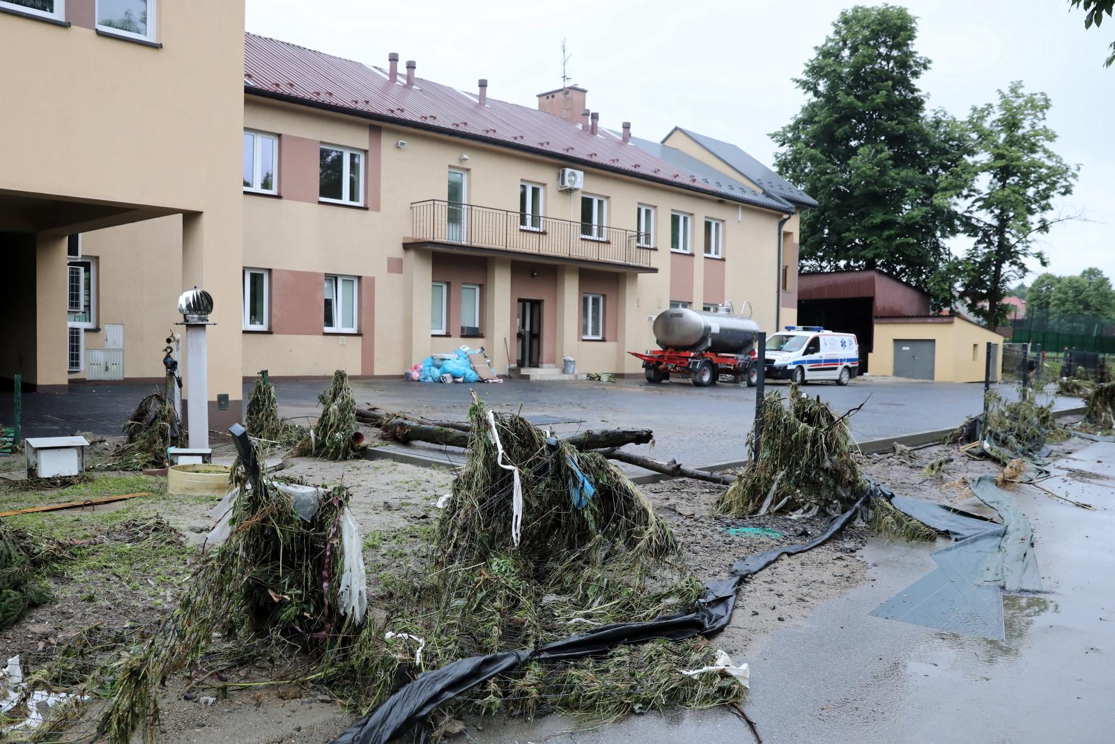 Heavy rain and flooding hit a hospital in Szczyrzyc, Lesser Poland.