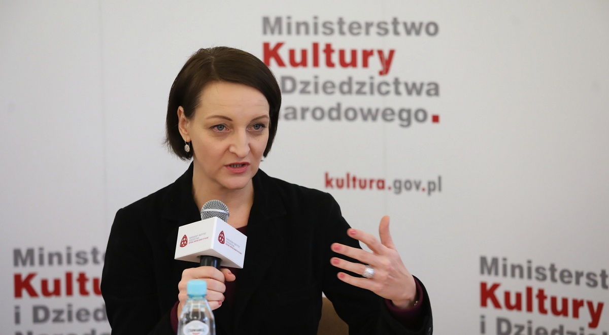 Polands Deputy Culture Minister Magdalena Gawin speaks at a press conference in Warsaw on Tuesday.