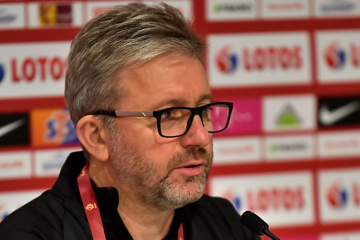 Poland boss Jerzy Brzęczek during a pre-match news conference in Wrocław on Tuesday, Oct. 13, 2020. Photo: PAP/Maciej Kulczyński