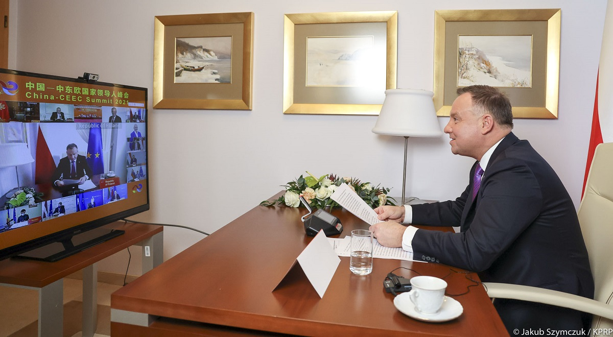 Polish President Andrzej Duda takes part in the virtual Summit of Leaders of Central and Eastern European Countries and China on Tuesday.