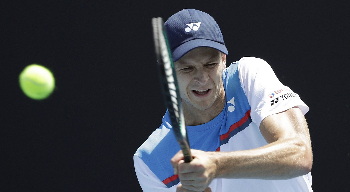 Polish tennis player Hubert Hurkacz in action during last years Australian Open tournament in Melbourne, Jan. 21, 2020.