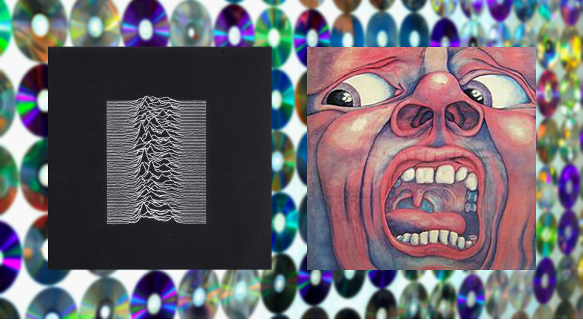 Okładki płyt Unknown Pleasures Joy Division oraz In the Court of the Crimson King King Crimson