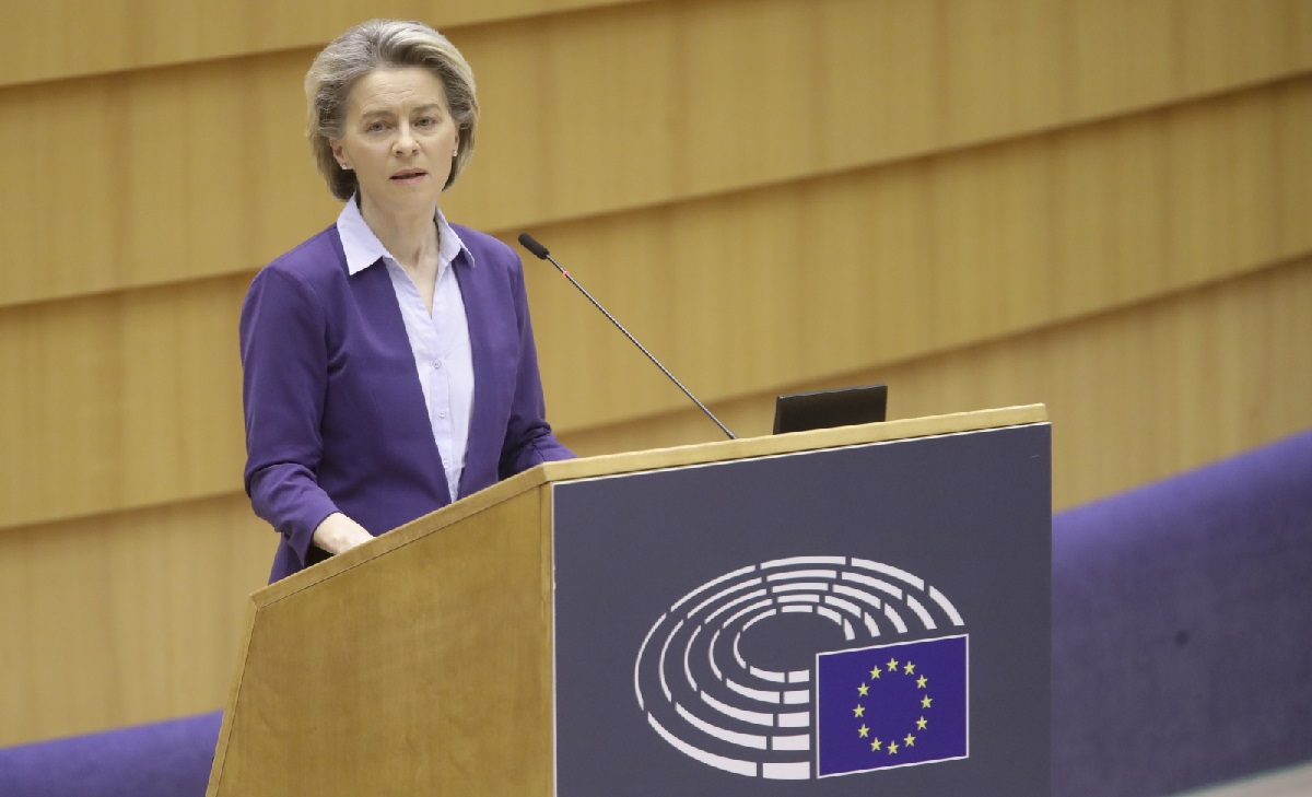 European Commission President Ursula von der Leyen at a debate on the EUs COVID-19 vaccination strategy at a plenary session of the European Parliament in Brussels on Wednesday.