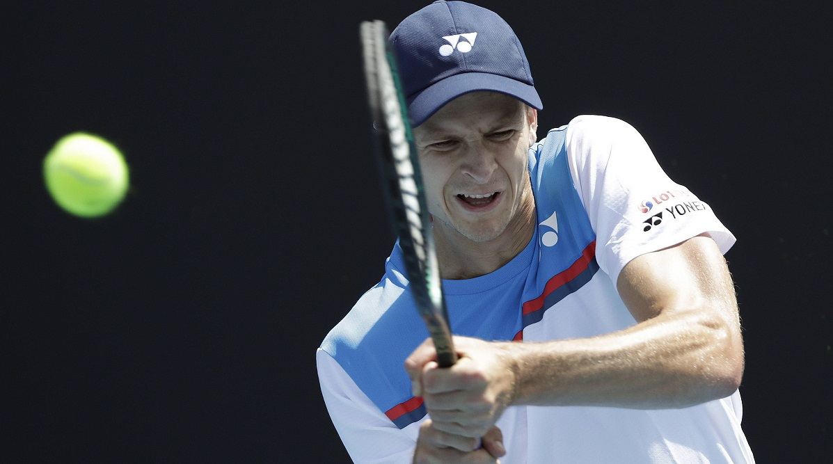 Hubert Hurkacz in action during his mens singles first round match against Dennis Novak of Austria at the Australian Open, 21 January
