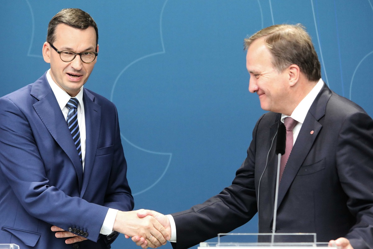 Polish Prime Minister Mateusz Morawiecki and his Swedish counterpart Stefan Lfven during a press conference in Stockholm on Thursday.