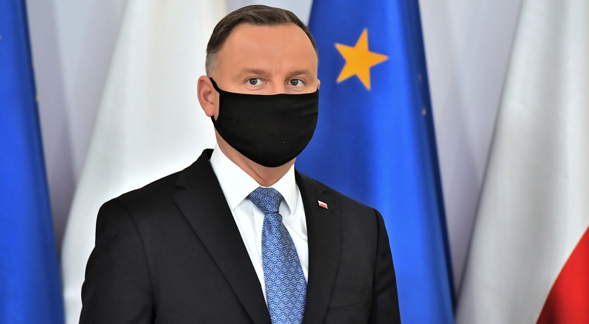 President Andrzej Duda, seen ahead of a remote Cabinet Council meeting with members of Polands government in Warsaw on Friday, April 9, 2021.