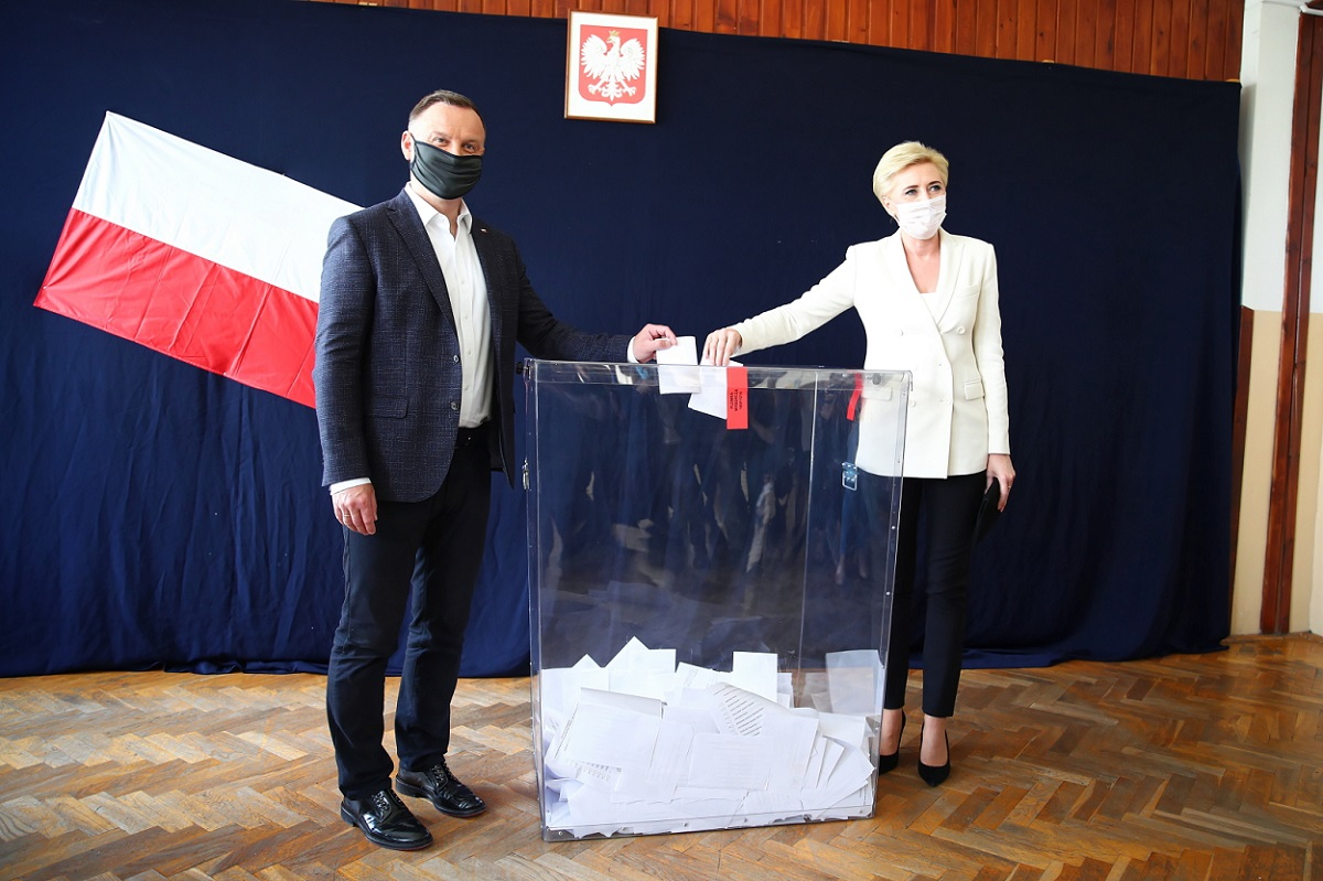President Andrzej Duda and First Lady Agata Kornhauser-Duda cast their ballots in Sunday's vote.