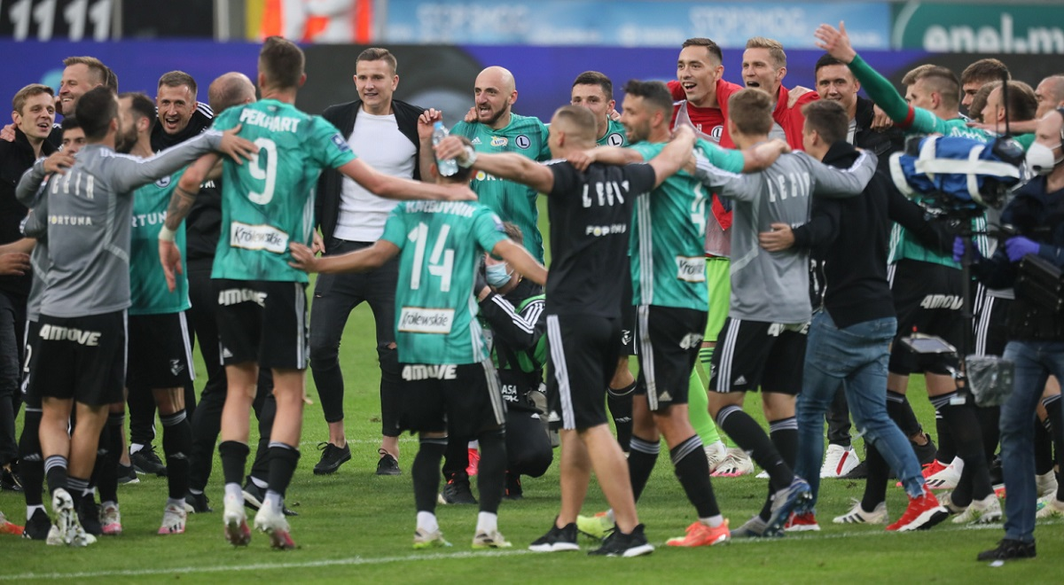 Legia Warsaw players celebrate securing the Polish top-flight championship title on Saturday, July 11, 2020.