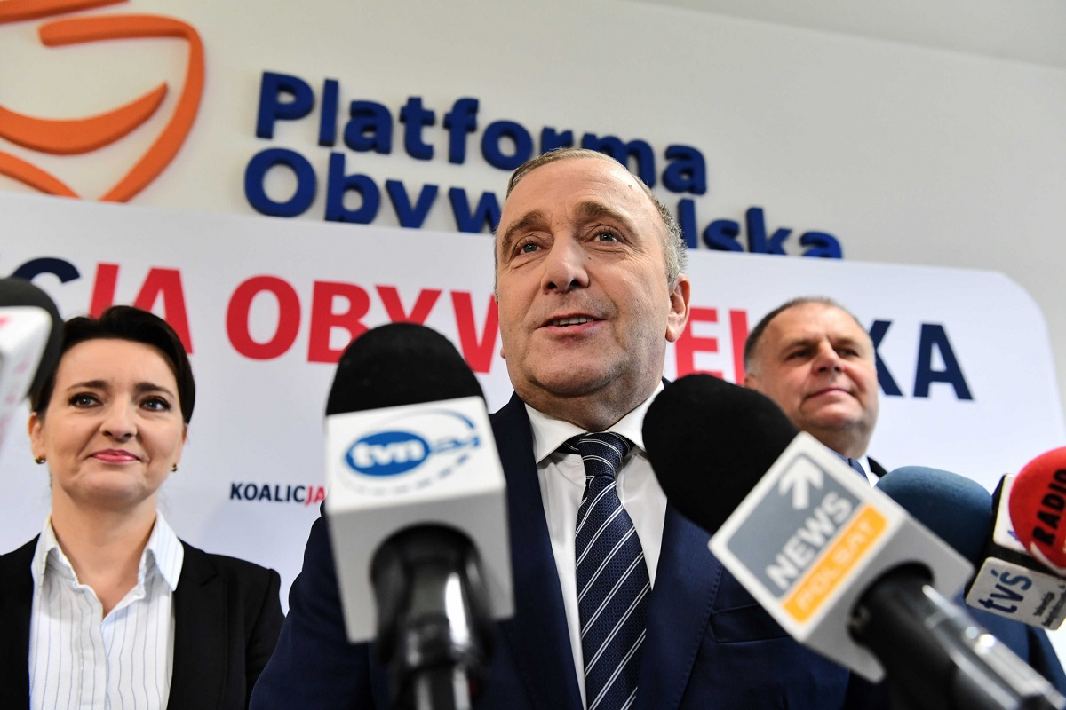 Grzegorz Schetyna, leader of the centre-right liberal Civic Platform (PO) party, talks to reporters at a news conference earlier this week.