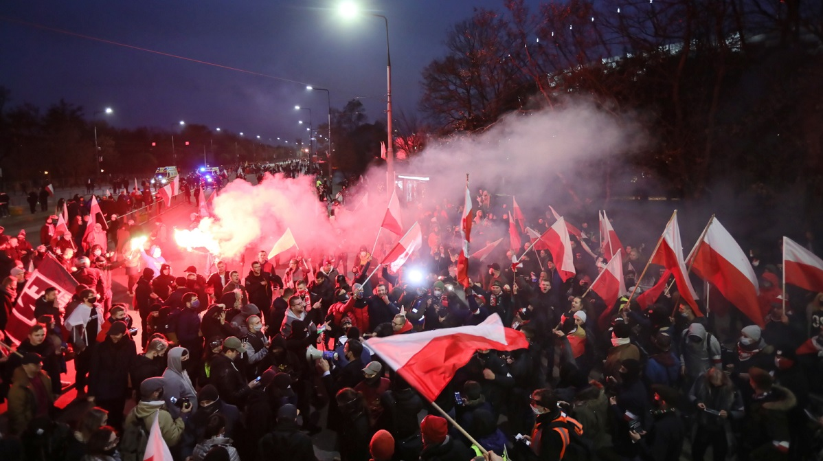 Marchers in central Warsaw on November 11.