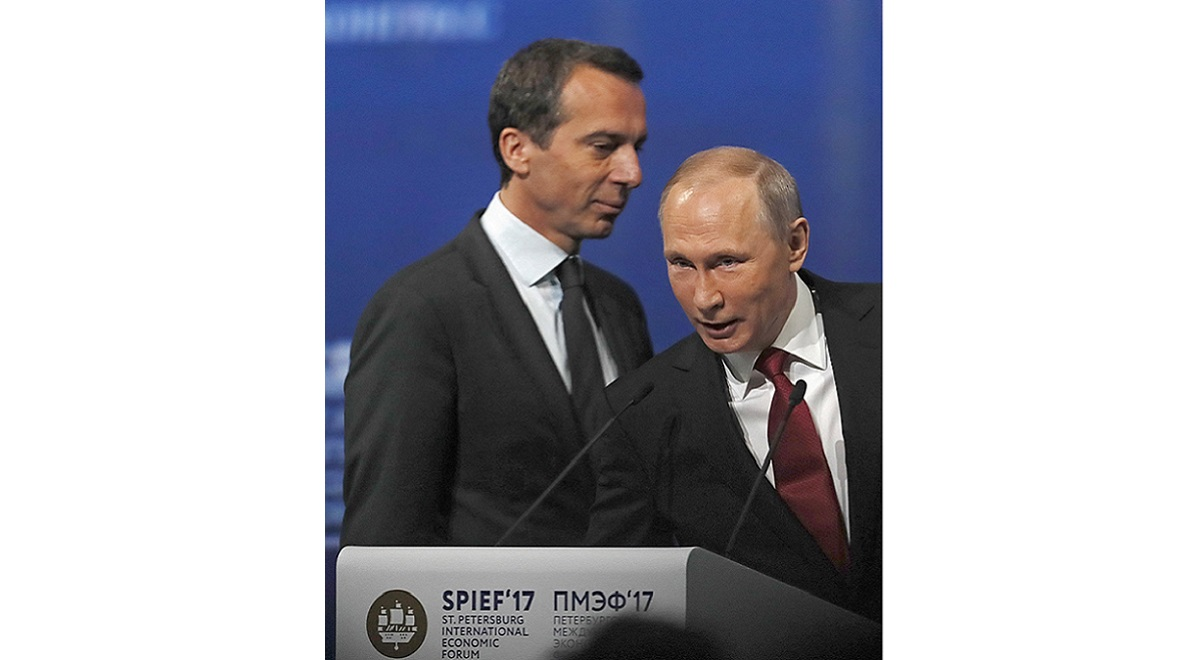 Austrias Christian Kern and Russian President Vladimir Putin during the St. Petersburg International Economic Forum in June 2017.