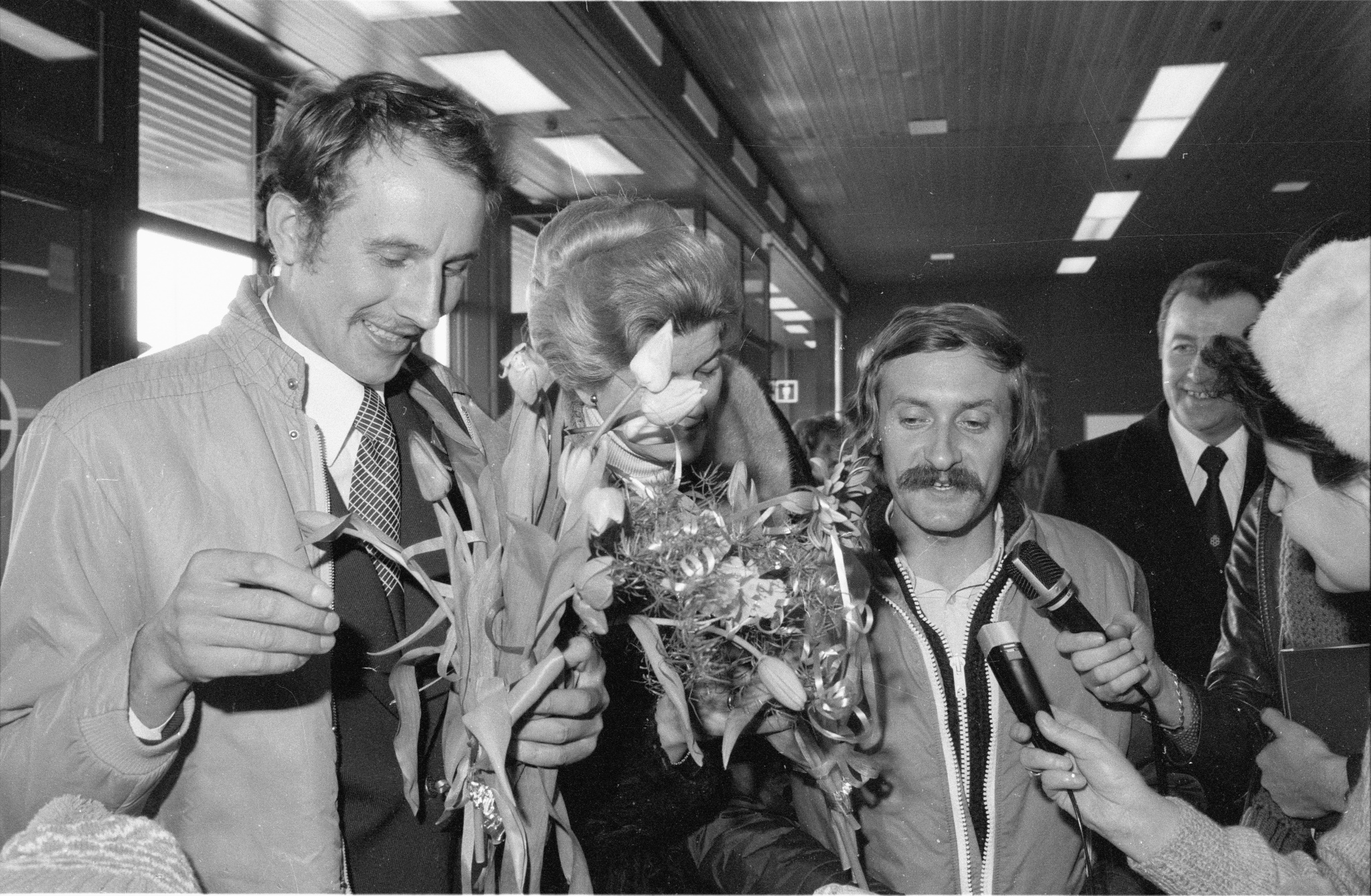 Leszek Cichy and Krzysztof Wielicki, safely back in Warsaw on March 16, 1980, after scaling Mount Everest in the winter.