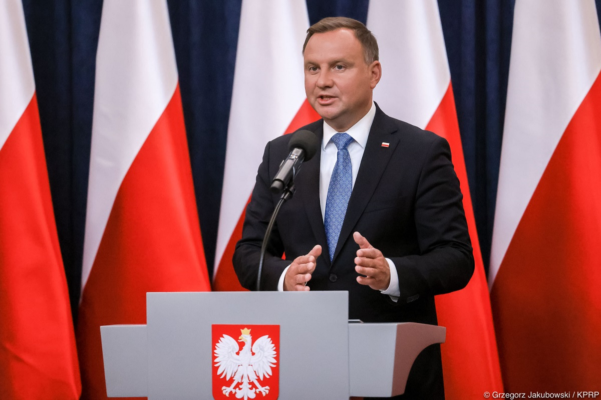 President Andrzej Duda speaks after a Cabinet Council meeting with members of Polands government in Warsaw on Friday, Sept. 4, 2020.