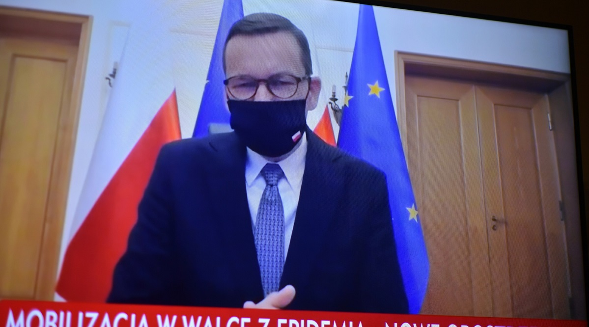 PM Mateusz Morawiecki during a televised press conference on Thursday.