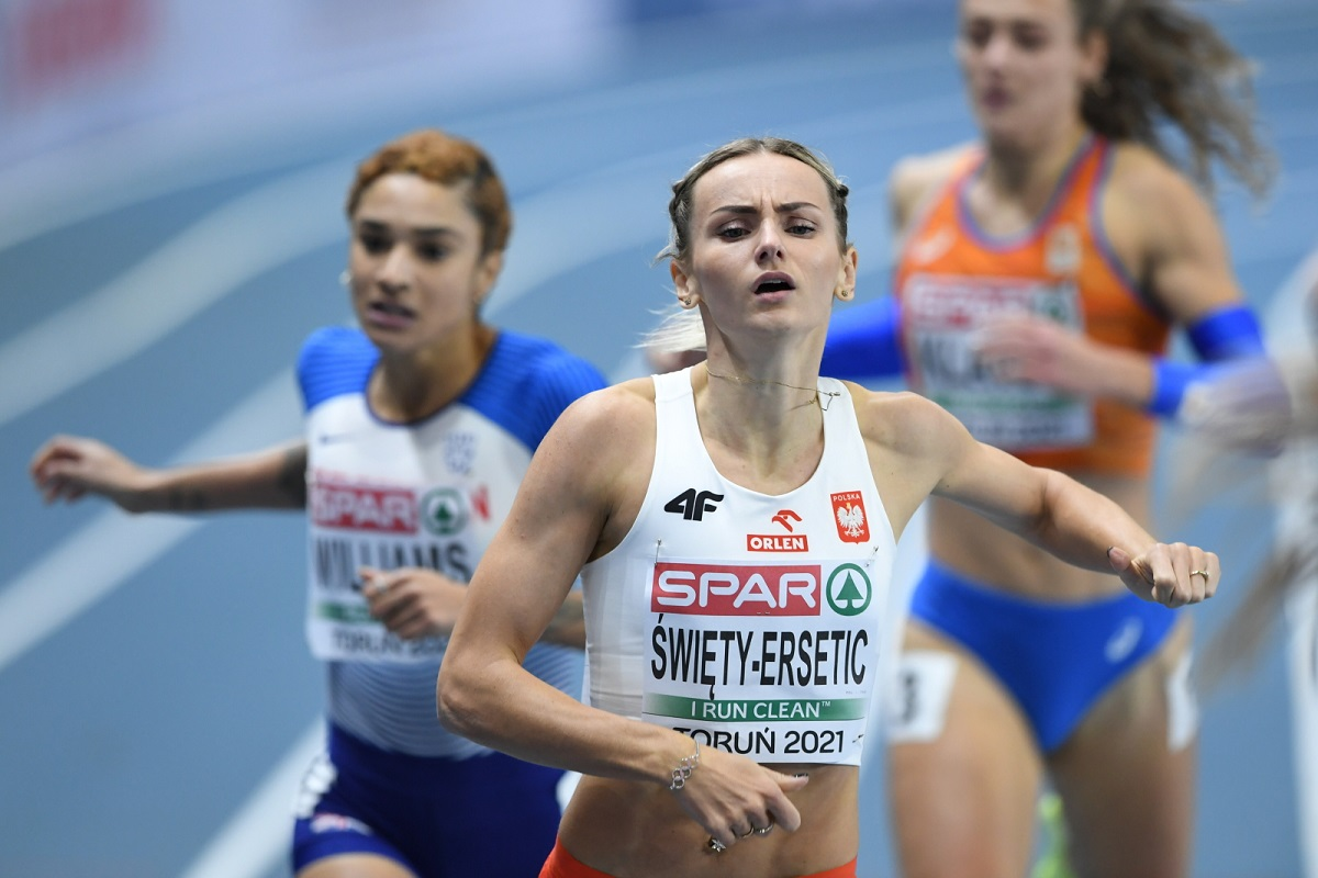 Poland's Justyna Święty-Ersetic finishes runner-up in the women's 400 metres final in Toruń on Saturday, March 6, 2021.