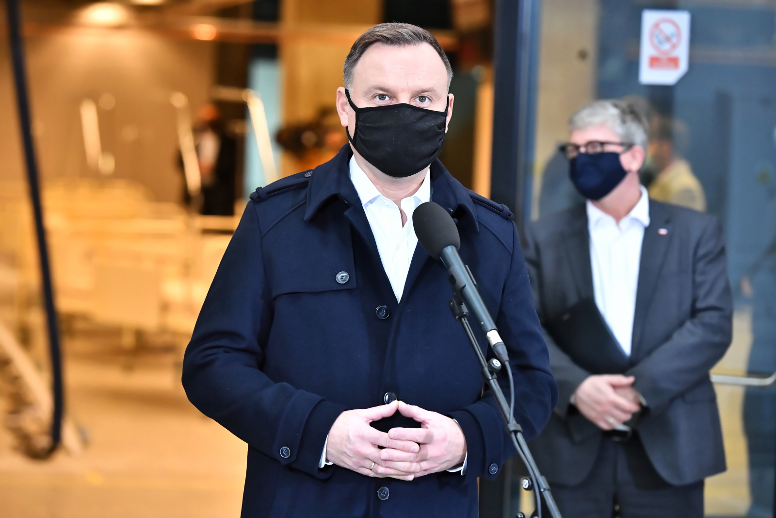 President Andrzej Duda speaking during an inspection visit at the National Stadium on Friday. The site is being transformed into a field  hospital for coronavirus patients.
