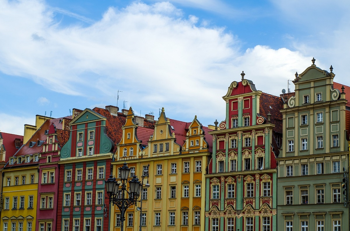 Colorful facades in the historic old town of Wrocław, western Poland.