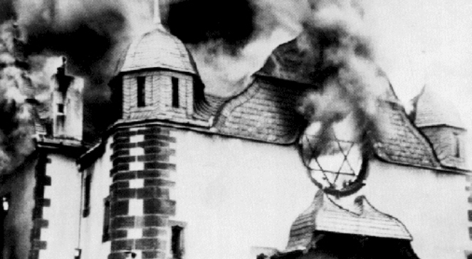 Płonąca synagoga w miejscowości Siegen, 9 listopada 1938 r.