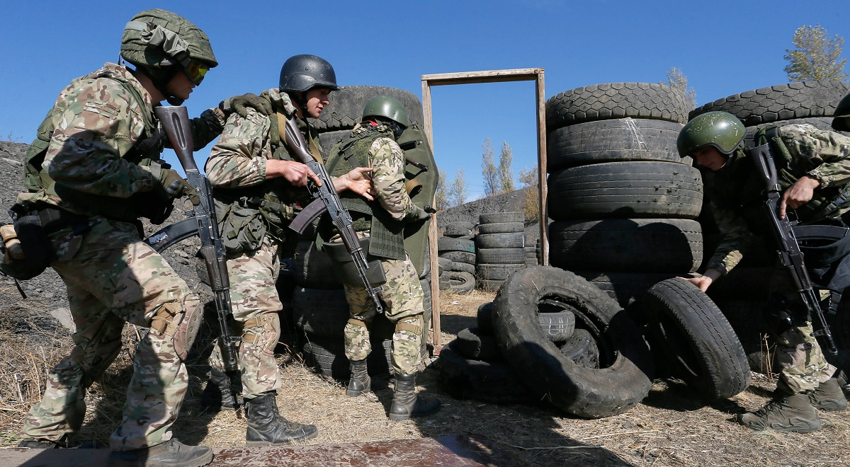 Pro-Russian militants from the self-proclaimed Donetsk Peoples Republic attend a tactical exercise not far from the separatist-held city of Donetsk in Ukraines eastern Donbas region.