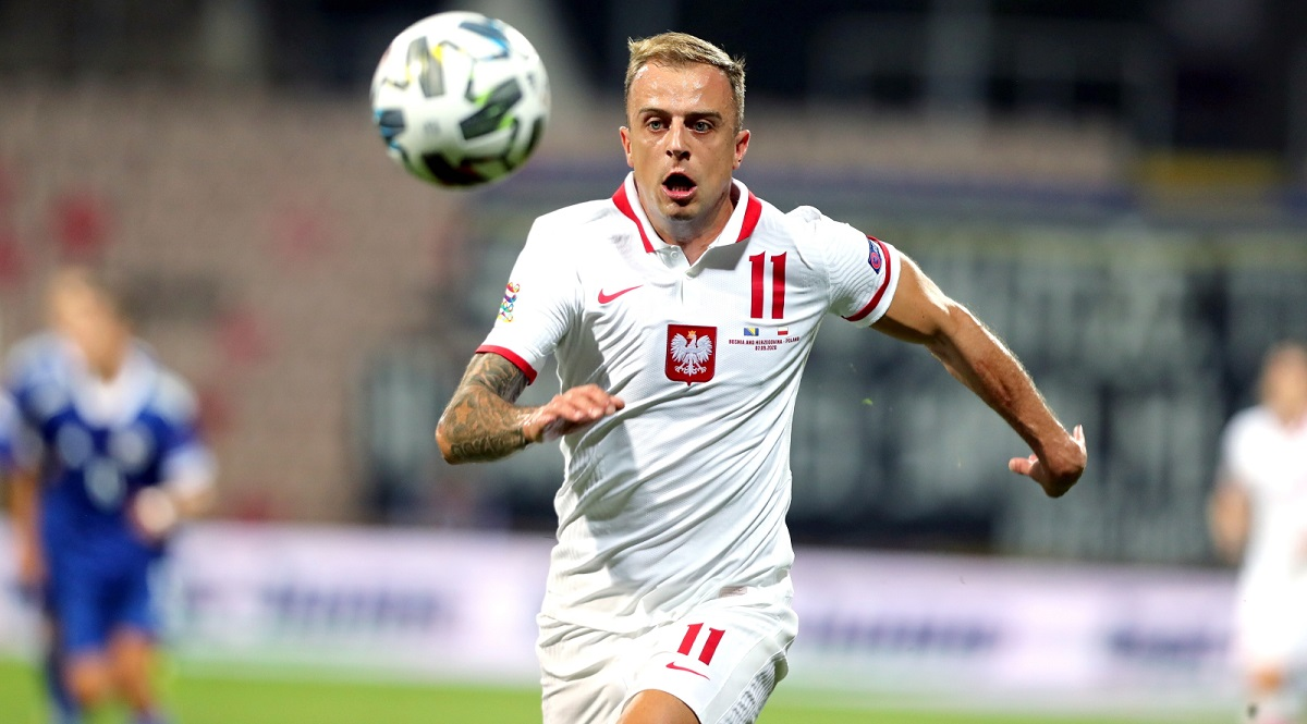 Polands Kamil Grosicki in action against Bosnia-and-Herzegovina.