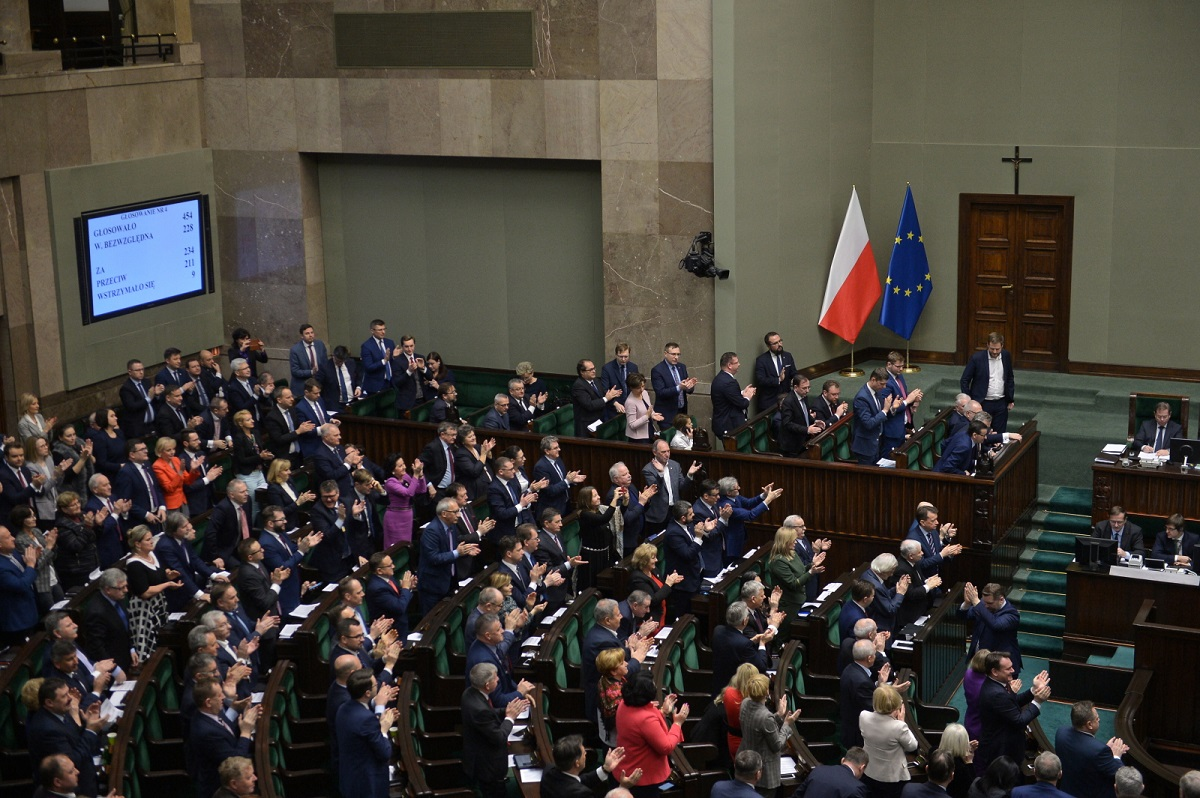 The lower house of Poland's parliament, the Sejm, in session in Warsaw on Thursday evening.