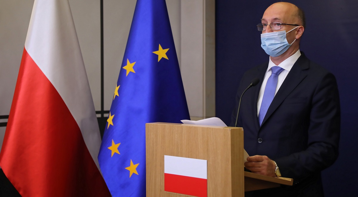 Polish Deputy Foreign Minister Piotr Wawrzyk holds a news conference in Warsaw on Wednesday.