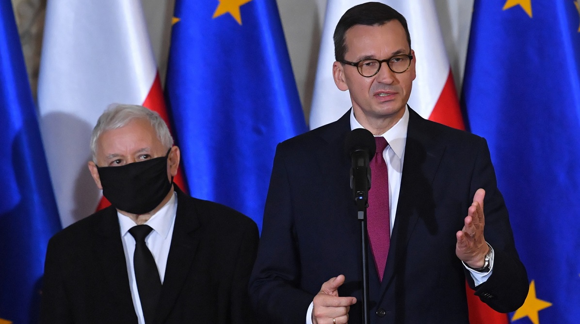 Law and Justice chief Jarosław Kaczyński (left) and PM Mateusz Morawiecki at a press conference on Wednesday.Photo: PAPRadek Pietruszka
