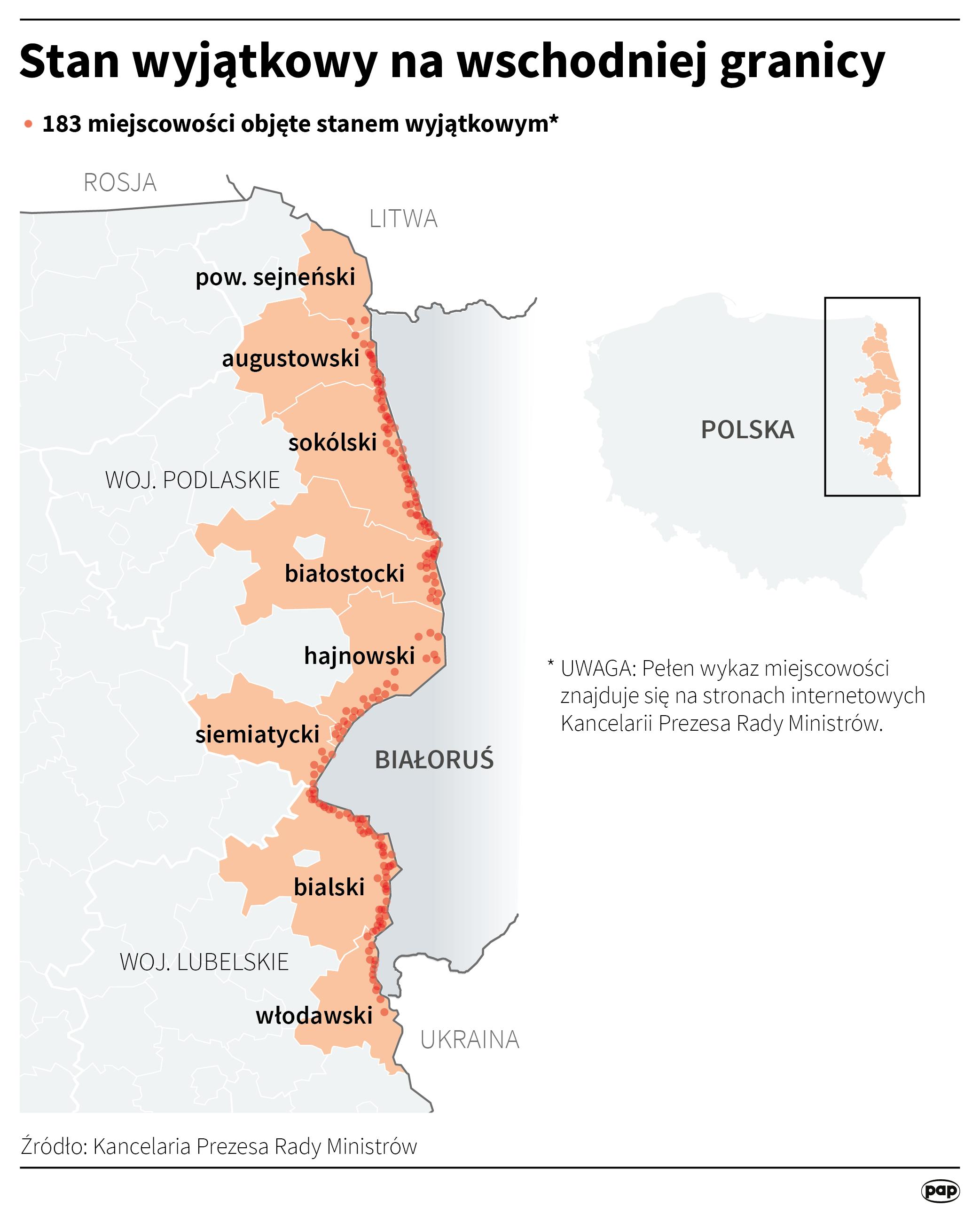 Prezydent Andrzej Duda podjął decyzję o wydaniu rozporządzenia o wprowadzeniu stanu wyjątkowego w przygranicznym pasie z Białorusią, czyli w części województw podlaskiego i lubelskiego. (PAP)