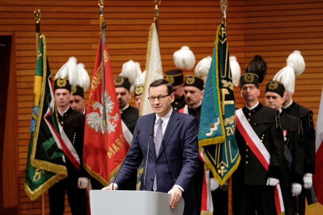 Polish Prime Minister Mateusz Morawiecki speaking at an event organized by state-owned PGG, the countrys biggest coal mining firm, on Saturday, November 30.