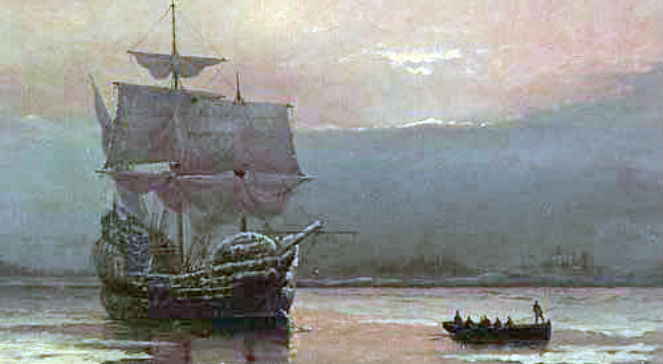 Mayflower w Plymouth Harbor, obraz autorstwa William Halsall, źr. Wikimedia Commonsdp