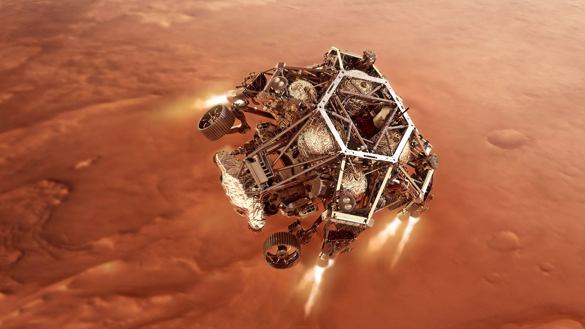 Illustration showing NASAs Perseverance rover firing up its descent-stage engines as it nears the Martian surface.
