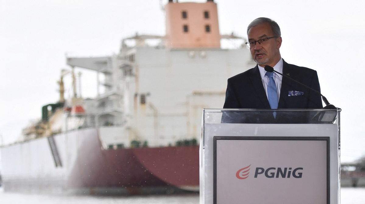 PGNiG CEO Jerzy Kwieciński at a ceremony on Friday marking the 100th delivery of LNG to Polands Świnoujście terminal.