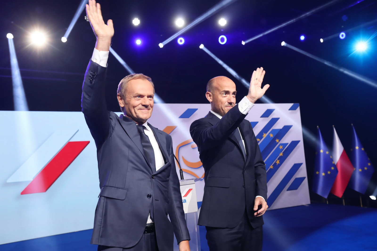 Civic Platform leader Borys Budka (R) and the partys co-founder, now EPP leader Donald Tusk (L) at Civic Platforms National Council in Warsaw