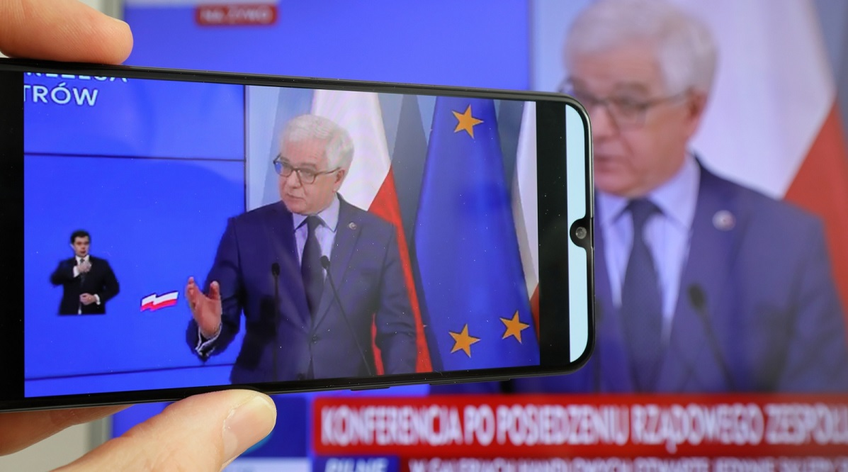 Foreign Minister Jacek Czaputowicz at a press conference on Monday