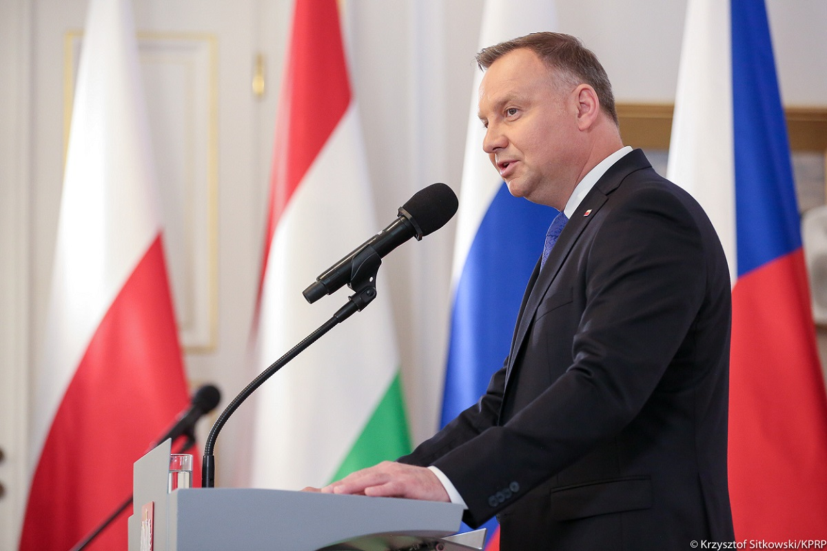 Polish President Andrzej Duda speaks at a summit of Visegrad Group (V4) leaders in Warsaw on Friday.