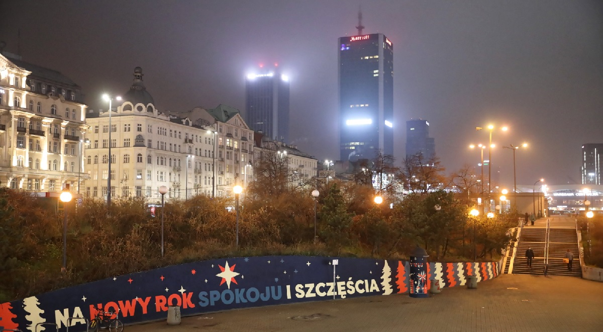 A mostly empty downtown Warsaw on New Years Eve during a coronavirus curfew. Free movement was restricted throughout the country from 7 p.m. on December 31 to 6 a.m. on January 1.