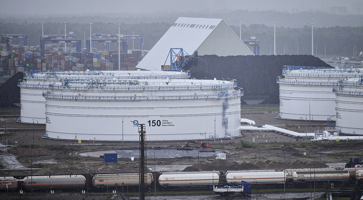 Fuel storage tanks managed by the Polish state-owned pipeline operator at an oil terminal in the Baltic port of Gdańsk.