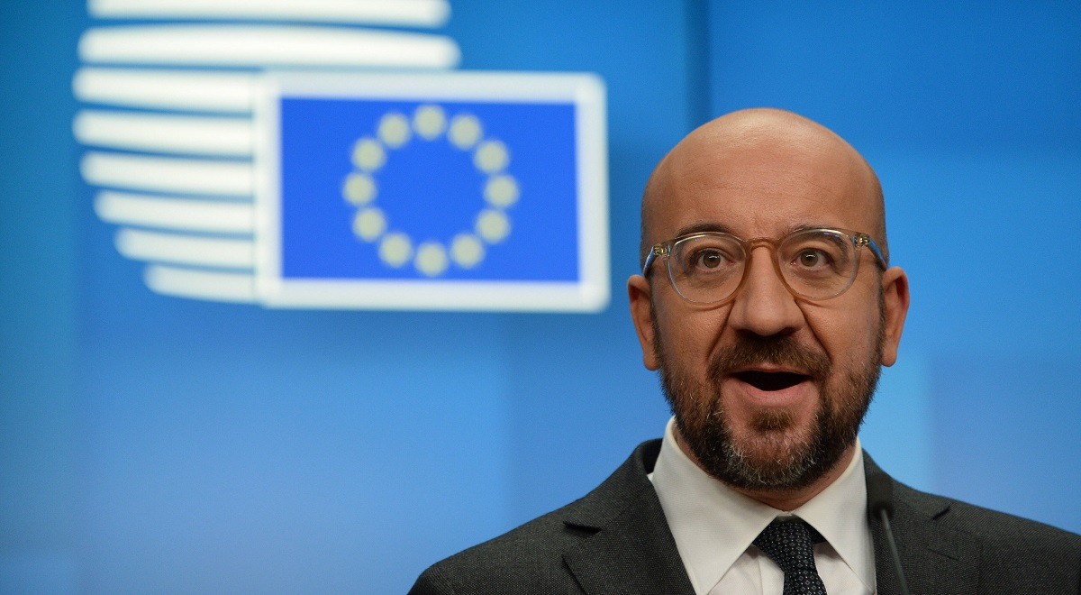 European Council President Charles Michel speaks at a press conference following a summit of EU leaders in Brussels, Belgium, on Dec. 11, 2020.