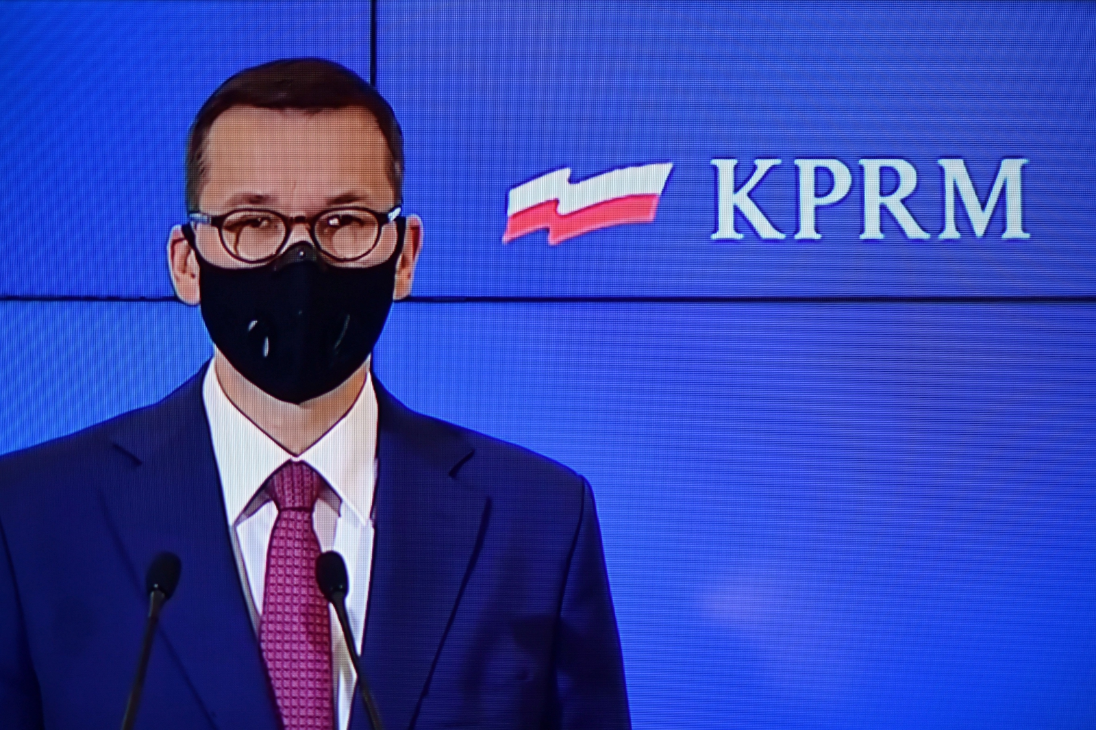 Polish Prime Minister Mateusz Morawiecki during an online conference on Saturday morning