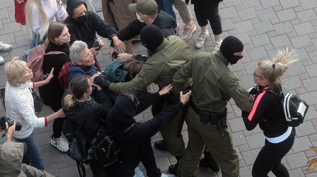 Police detain participants of a womens rally against the detention of Belarus opposition politician Maria Kolesnikova in Minsk on Wednesday.