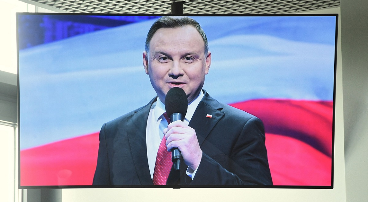 President Andrzej Duda is seen on a television screen as he outlines his second-term vision for Poland in a televised speech on Friday.